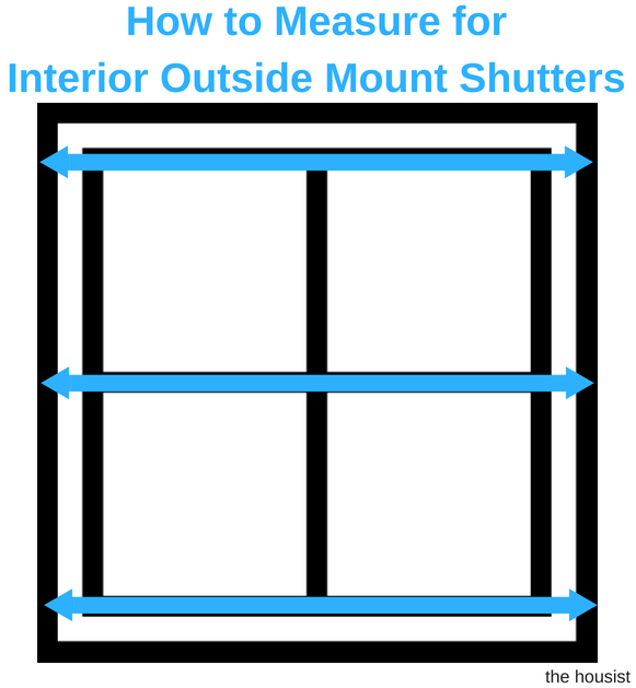 Measure Interior Outside Mount Shutters Width