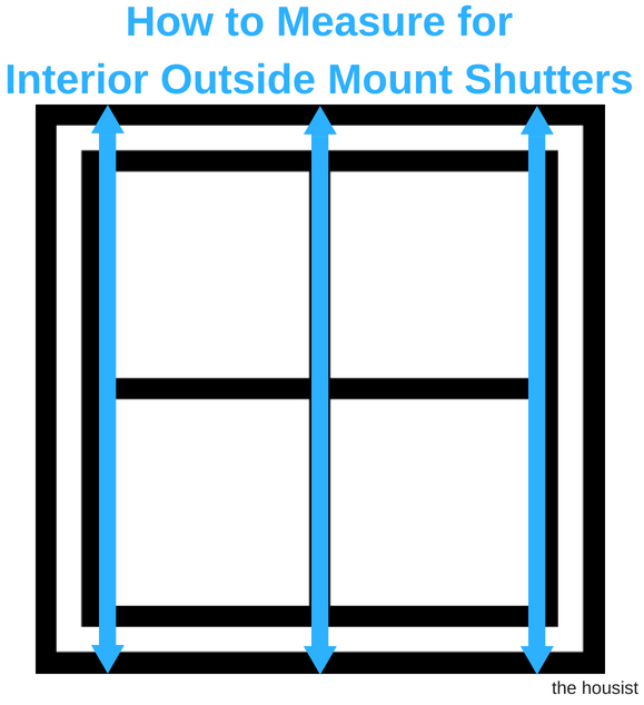 Measure Interior Outside Mount Shutters height