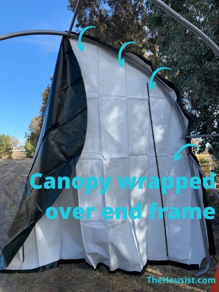 ShelterLogic Assembly Instructions - Wrap canopy over the end frame and loop over side - wind brace