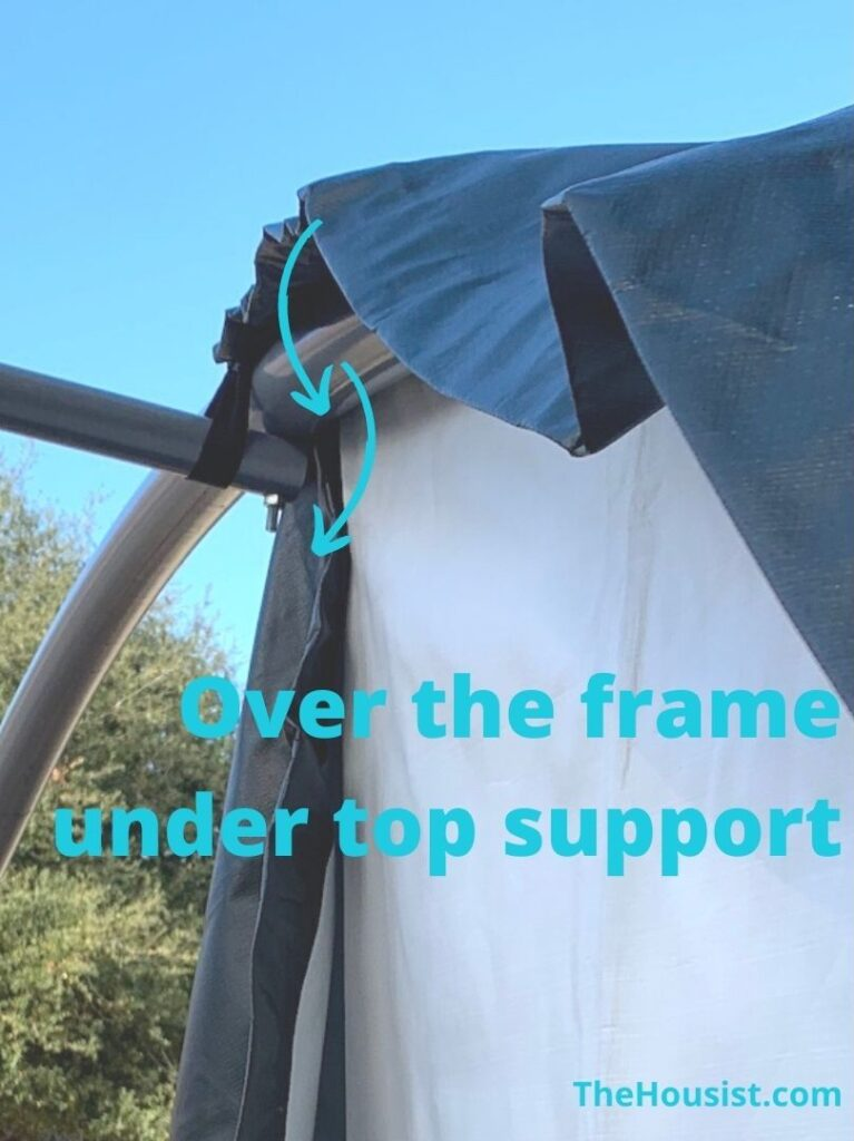 ShelterLogic Instructions - Loop strap over end frame and around top brace