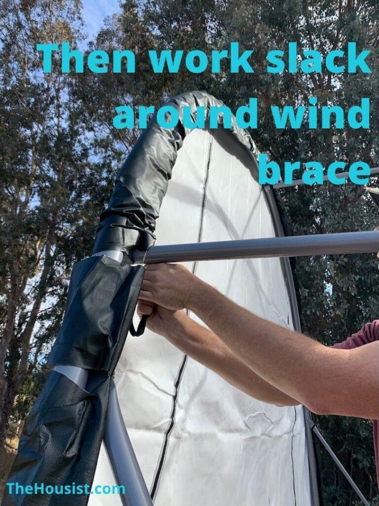 ShelterLogic Setup - Work slack around wind brace